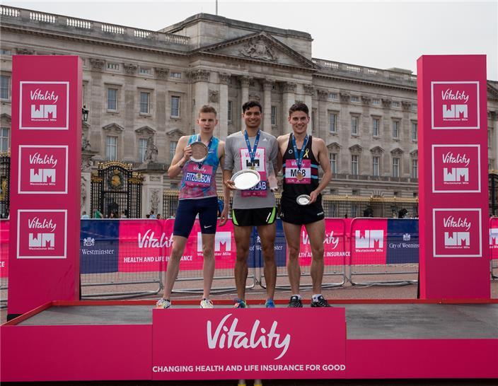 Nick Goolab podium with Sesseman and Fitzgibbon mile
