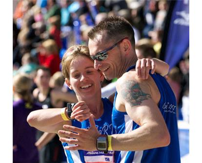 Couple hug Half Marathon