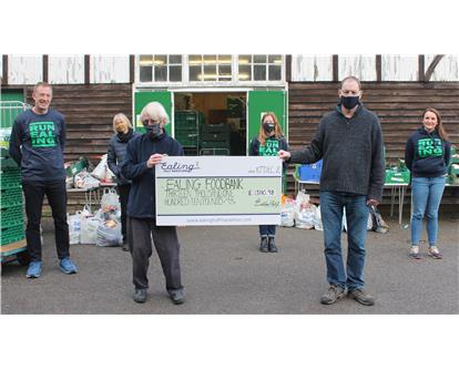 Ealing Foodbank runners cheque