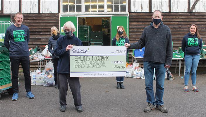 Ealing Foodbank runners cheque